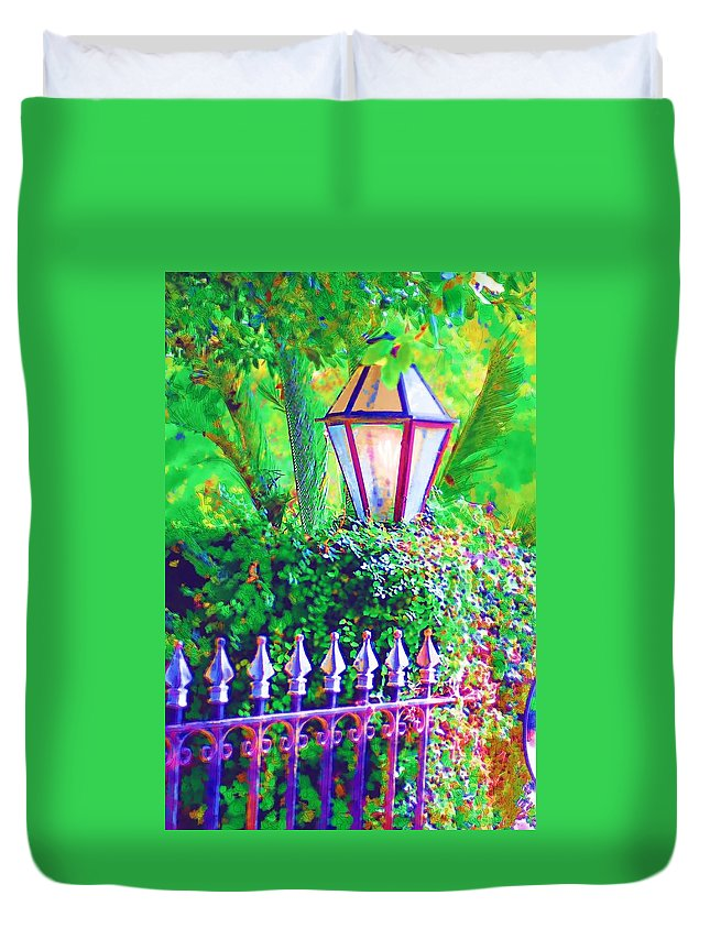 Lantern Duvet Cover featuring the photograph Gate With Lantern by Donna Bentley