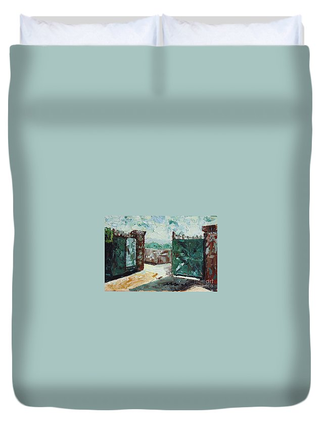 Gate Oil Canvas Duvet Cover featuring the painting Gate2 by Seon-Jeong Kim