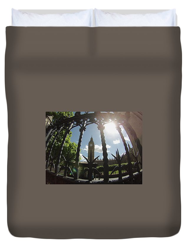 Big Ben Duvet Cover featuring the photograph Gated Ben by Eric Reith