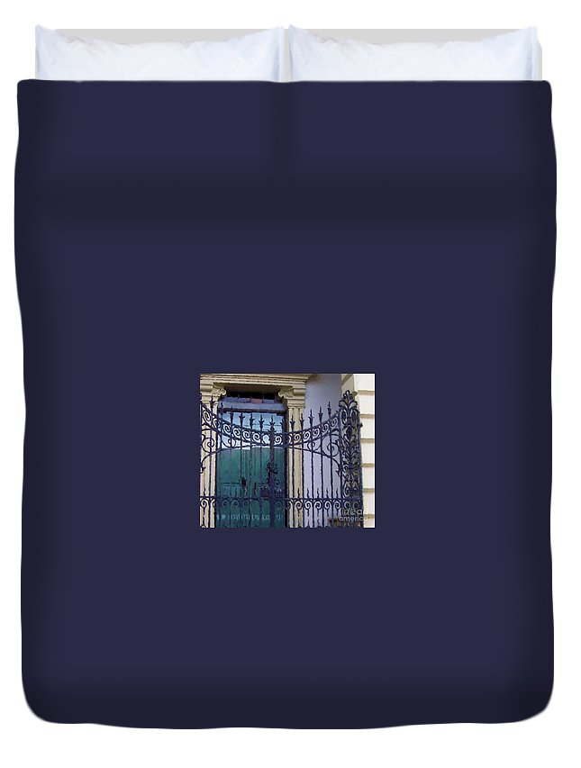 Gate Duvet Cover featuring the photograph Gated by Debbi Granruth