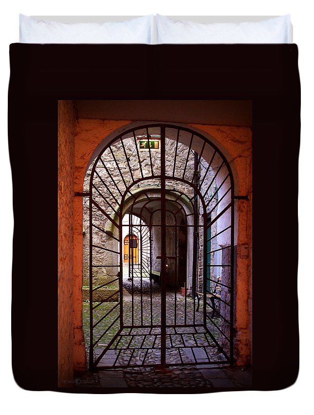 Gate Duvet Cover featuring the photograph Gated Passage by Tim Nyberg