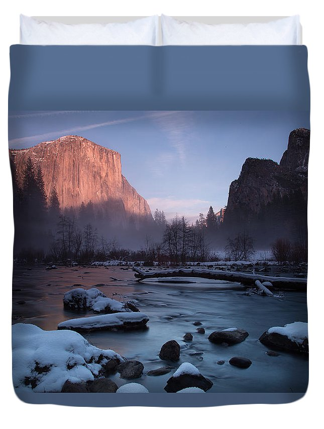 Gates Of The Valley Duvet Cover featuring the photograph Gates Of The Valley In Winter by John and Nicolle Hearne