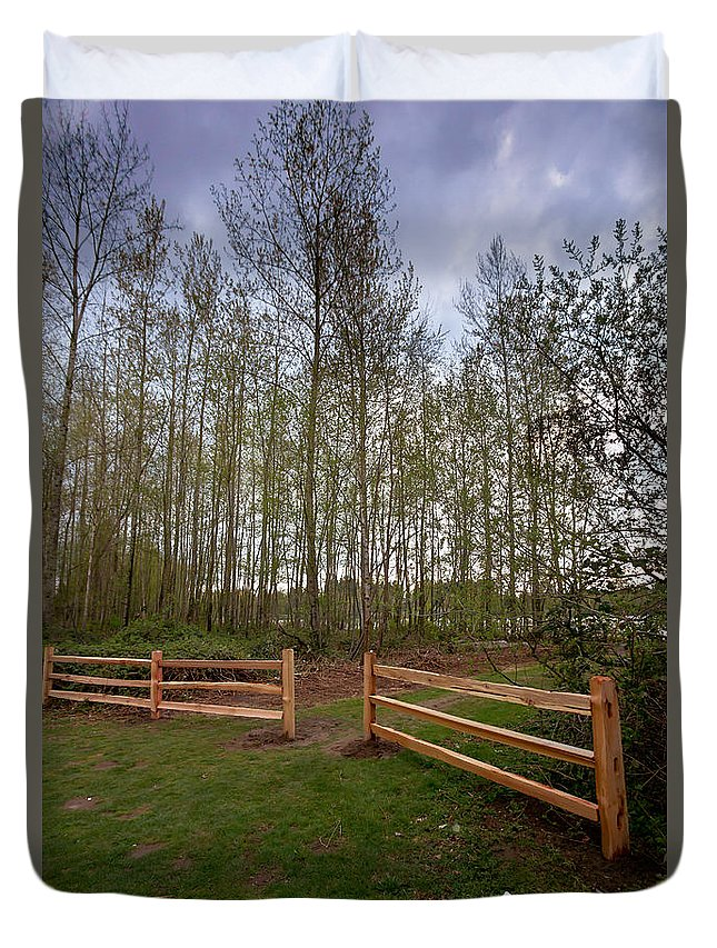 Birch Duvet Cover featuring the photograph Gates To The Birch Wood by Eti Reid