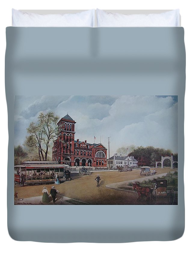 Charles Roy Smith Duvet Cover featuring the painting Gateway To The Queen City by Charles Roy Smith