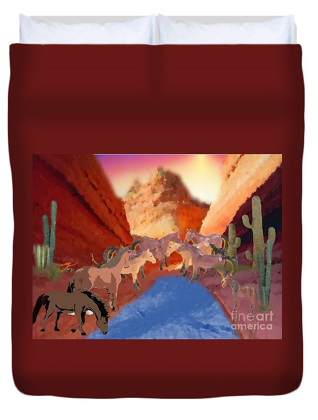 Canyon Duvet Cover featuring the painting Gathering by Belinda Threeths
