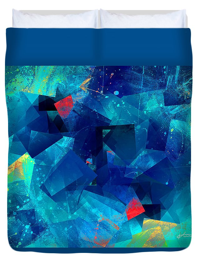 Abstract Duvet Cover featuring the mixed media Gathering Of The Squares by Kume Bryant