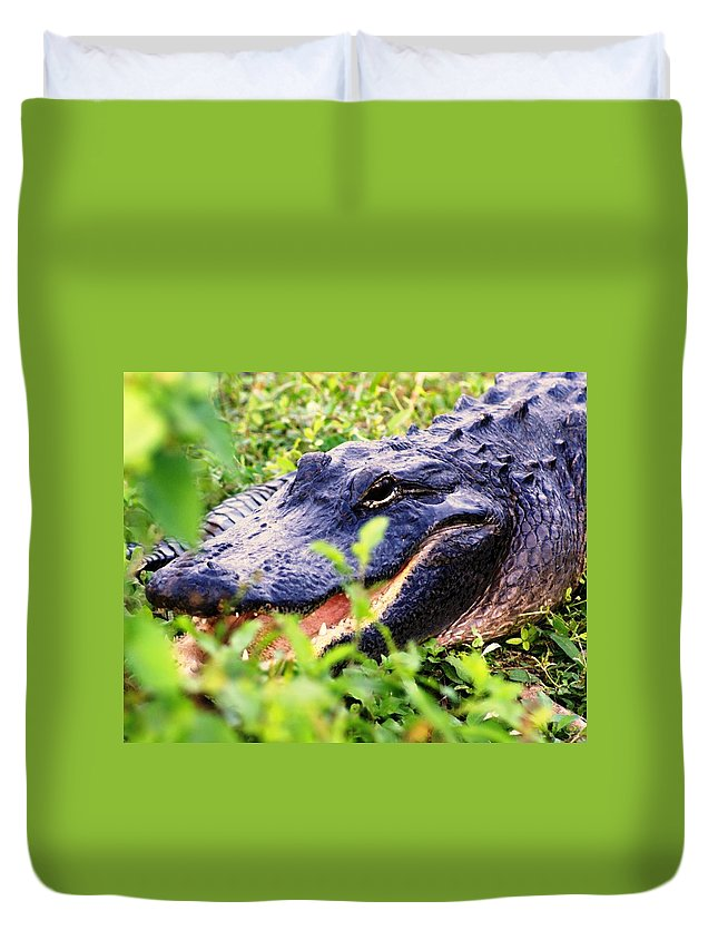 Aligator Duvet Cover featuring the photograph Gator 1 by Marty Koch