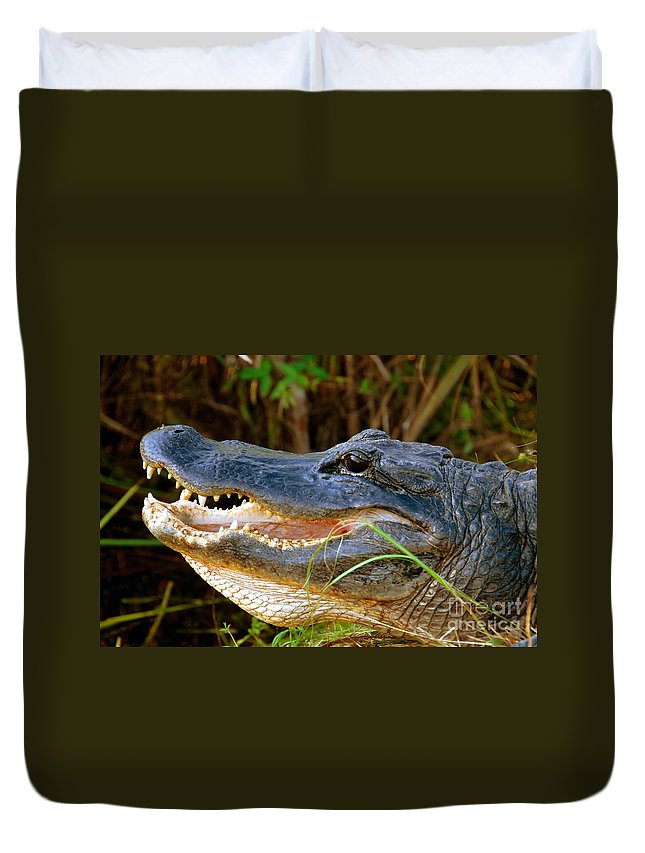 Alligator Duvet Cover featuring the photograph Gator Head by David Lee Thompson