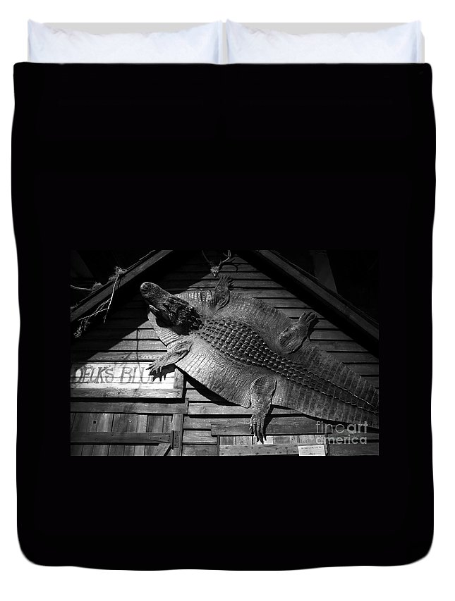Alligator Duvet Cover featuring the photograph Gator Hide by David Lee Thompson