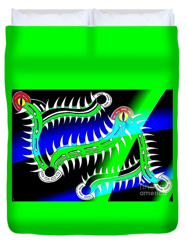 Tribal Gators Obscure Different Duvet Cover featuring the digital art Gators by Graham Roberts