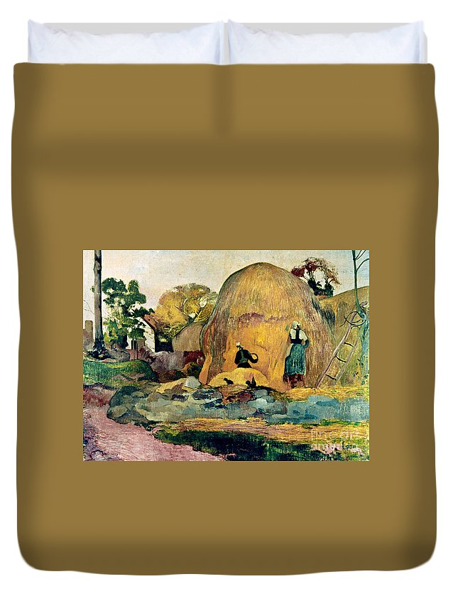 1889 Duvet Cover featuring the photograph Gauguin: Haystacks, 1889 by Granger
