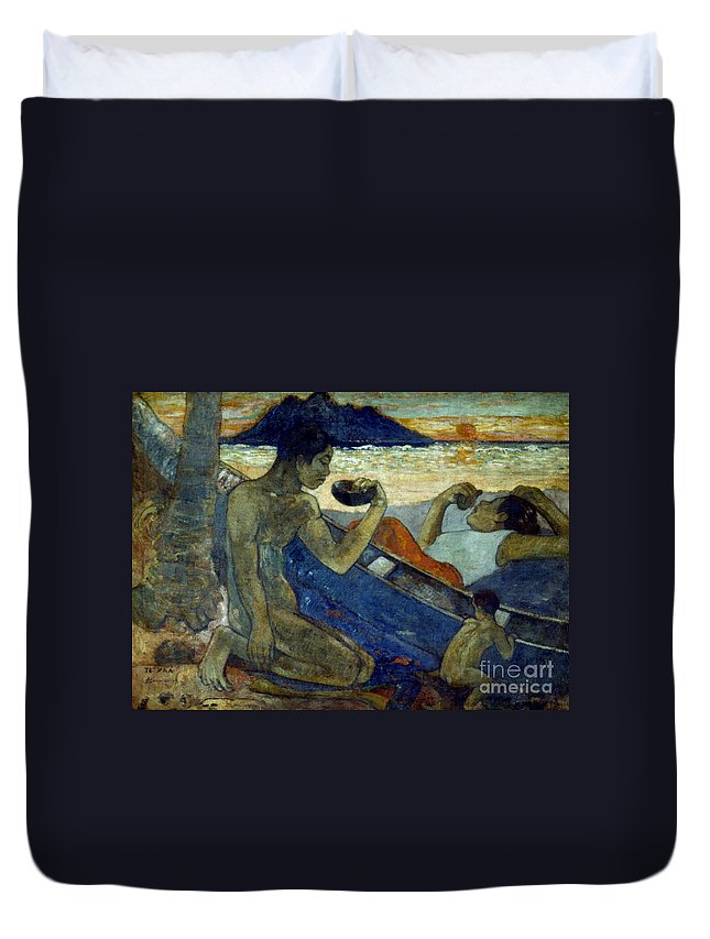 19th Century Duvet Cover featuring the photograph Gauguin: Pirogue, 19th C by Granger