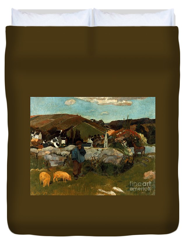 1888 Duvet Cover featuring the photograph Gauguin: Swineherd, 1888 by Granger
