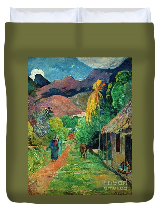 19th Century Duvet Cover featuring the photograph Gauguin Tahiti 19th Century by Granger