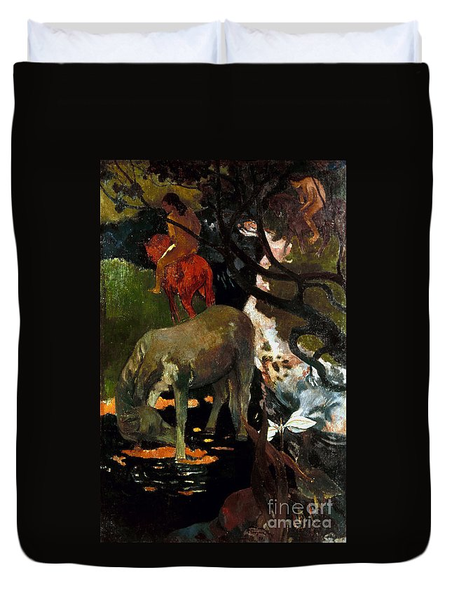 1898 Duvet Cover featuring the photograph Gauguin: White Horse, 1898 by Granger