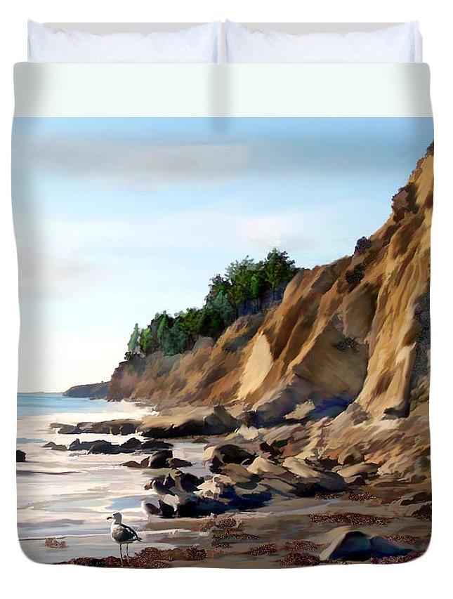 Ocean Duvet Cover featuring the photograph Gaviota by Kurt Van Wagner