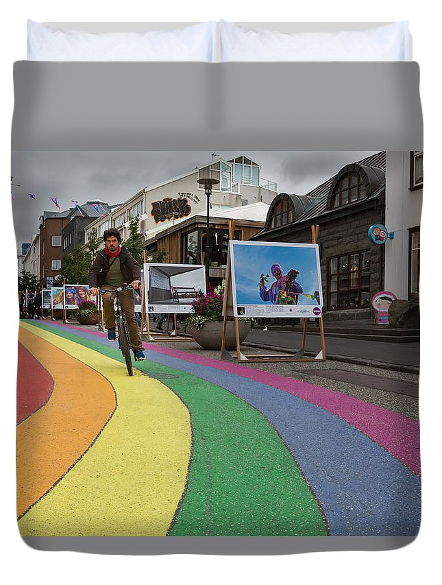 Bicycle Duvet Cover featuring the photograph Gay Pride In Reykjavik #02 by Dan Hartford