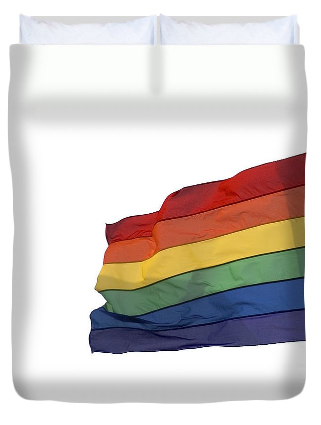 Flag Duvet Cover featuring the photograph Gay Rainbow Flag by Ilan Rosen
