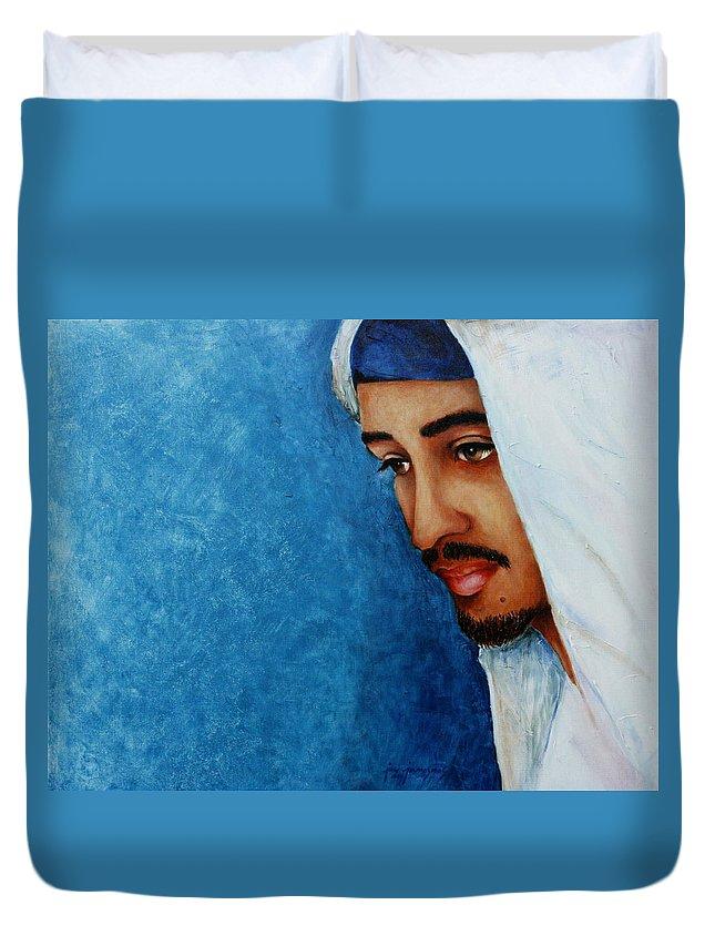 Gaze Duvet Cover featuring the painting Gaze Of Peace by Jun Jamosmos