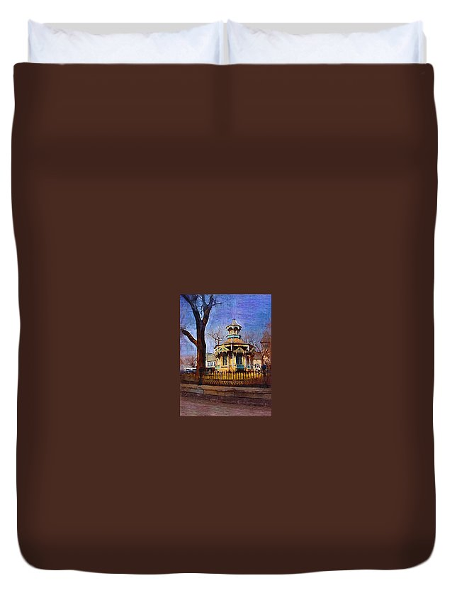 Architecture Duvet Cover featuring the digital art Gazebo And Tree by Anita Burgermeister
