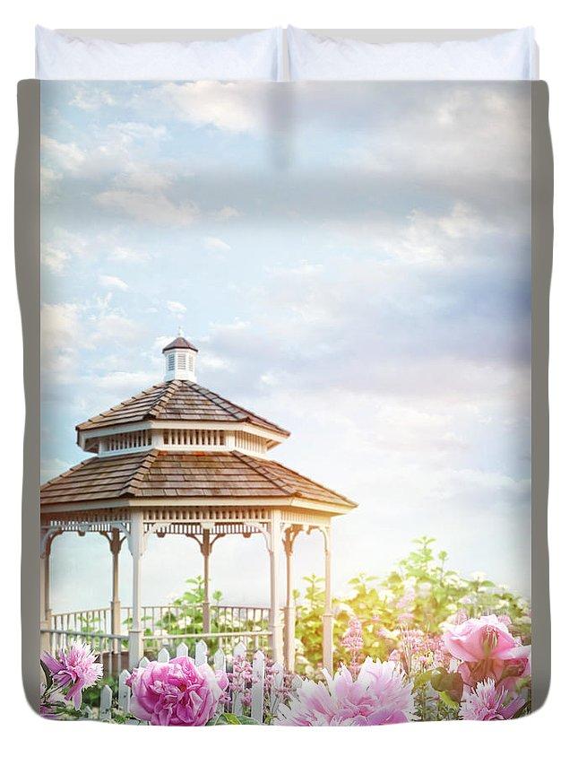 Atmosphere Duvet Cover featuring the photograph Gazebo In Summer Flower Garden by Sandra Cunningham