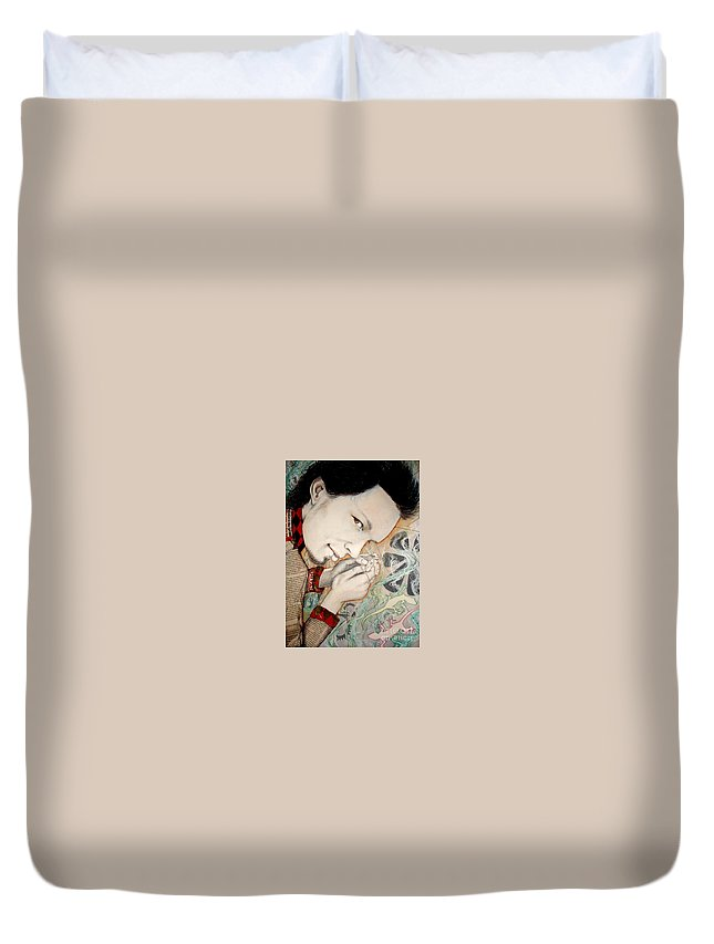Gecko Duvet Cover featuring the drawing Gecko by Freja Friborg