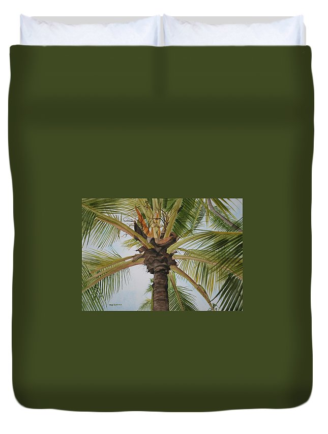 Palm Tree Duvet Cover featuring the painting Gecko Heaven by Jean Blackmer