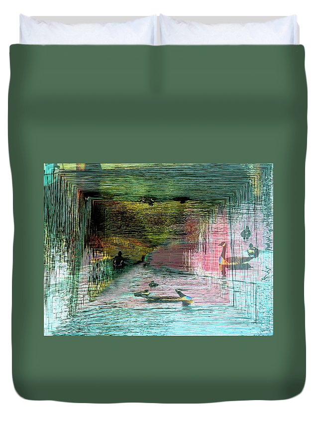 Geese Duvet Cover featuring the photograph Geese In The Vortex by Tim Allen