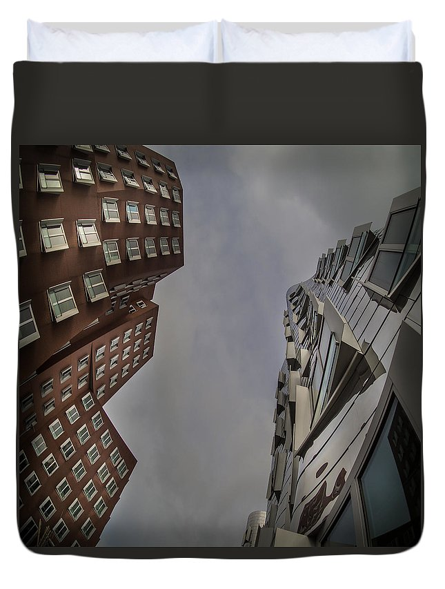 Dusseldorf Duvet Cover featuring the photograph Gehry Buildings Dusseldorf by Peter Mojzes