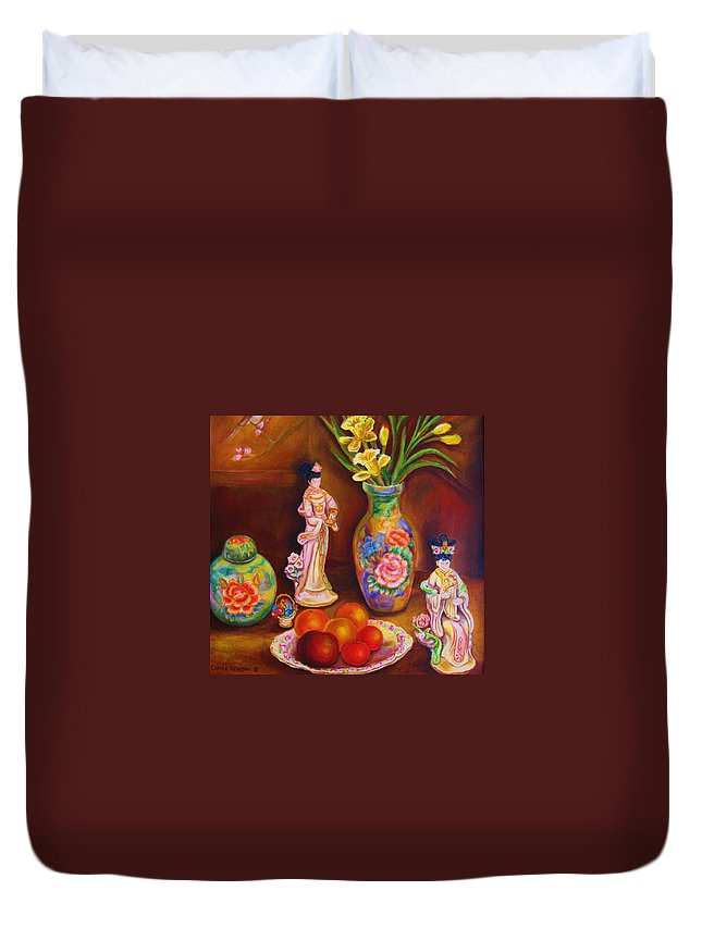 Geishas Duvet Cover featuring the painting Geisha Dolls by Carole Spandau