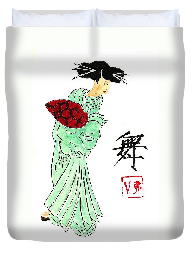 China Duvet Cover featuring the painting Geisha Girl Dancing by Michael Vigliotti
