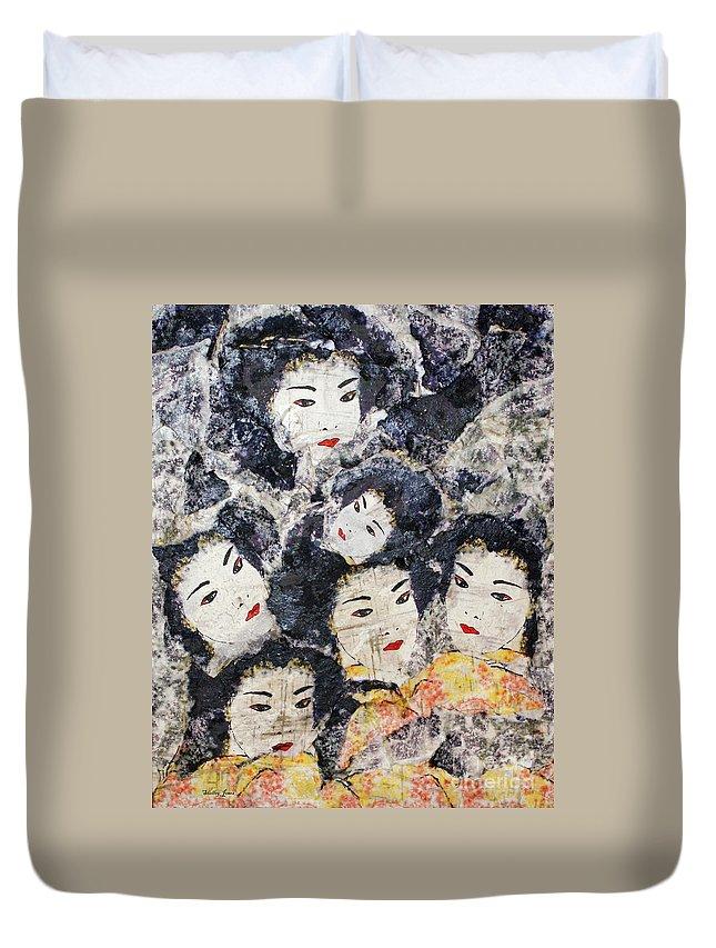 Geisha Duvet Cover featuring the mixed media Geisha by Shelley Jones