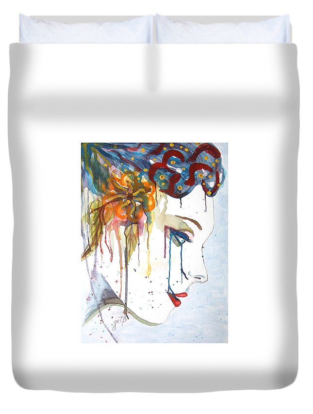 Geisha Face Duvet Cover featuring the painting Geisha Soul Watercolor Painting by Georgeta Blanaru