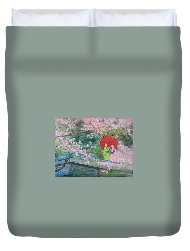 Landscape Duvet Cover featuring the painting Geishas And Cherry Blossom by Lizzy Forrester