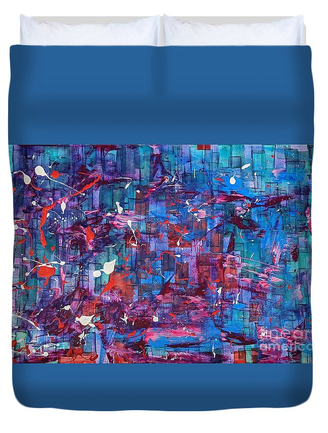 Duvet Cover featuring the painting Gem Original by JayOlermo