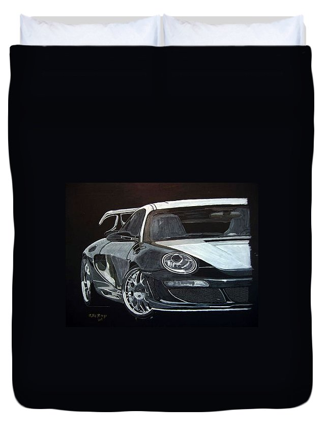 Car Duvet Cover featuring the painting Gemballa Porsche Right by Richard Le Page