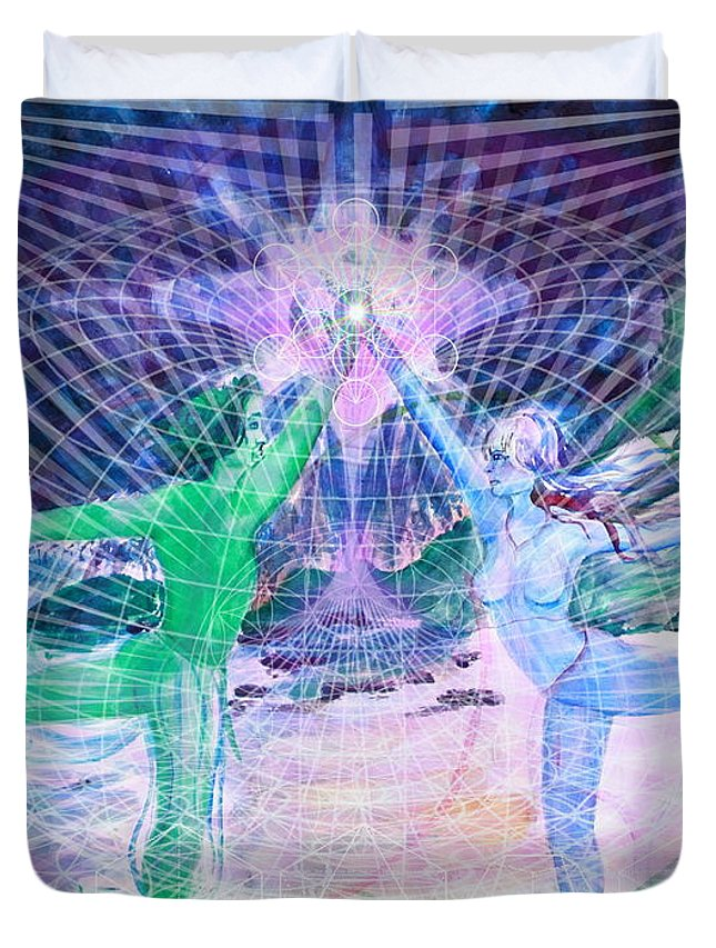 Artwork gemini Moon Mandala Print Art Unique Gifts Contemporary Art Visionary Art Watercolor Painting Abstract Art Artists Digital Artwork Duvet Cover featuring the painting Gemini Moon Mandala by Sara Sunkiss