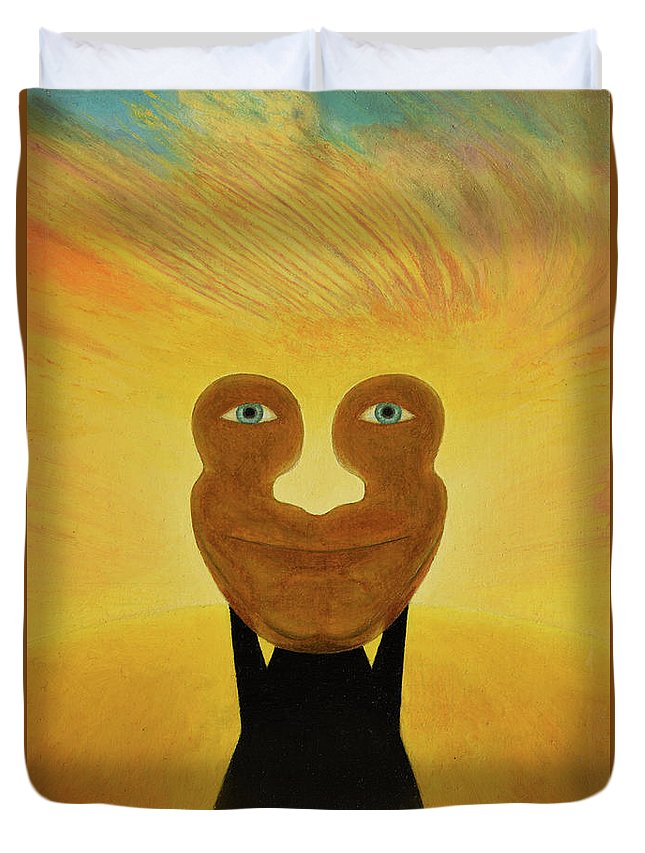 Face Duvet Cover featuring the painting Gemini. Self-portrait by Oleg Konin