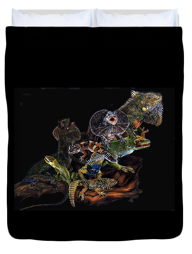 Lizards Duvet Cover featuring the drawing Gems And Jewels by Barbara Keith