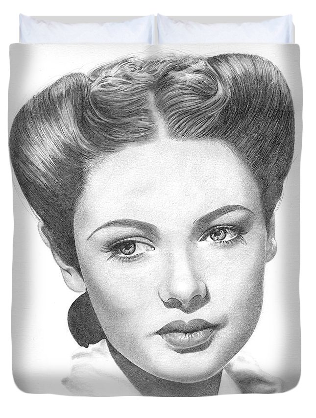 Gene Tierney Duvet Cover featuring the drawing Gene Tierney by Karen Townsend