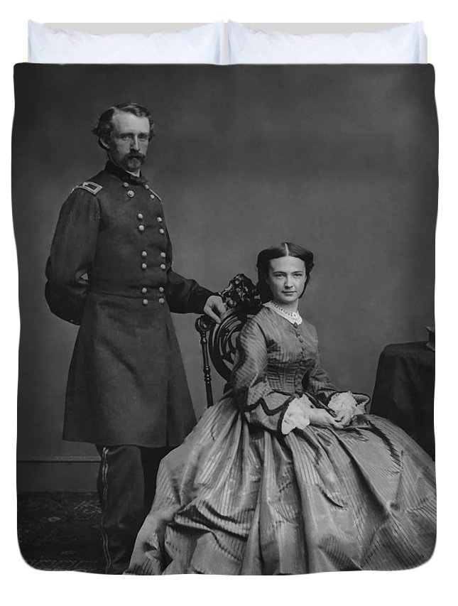 George Armstrong Custer Duvet Cover featuring the painting General Custer And His Wife Libbie by War Is Hell Store