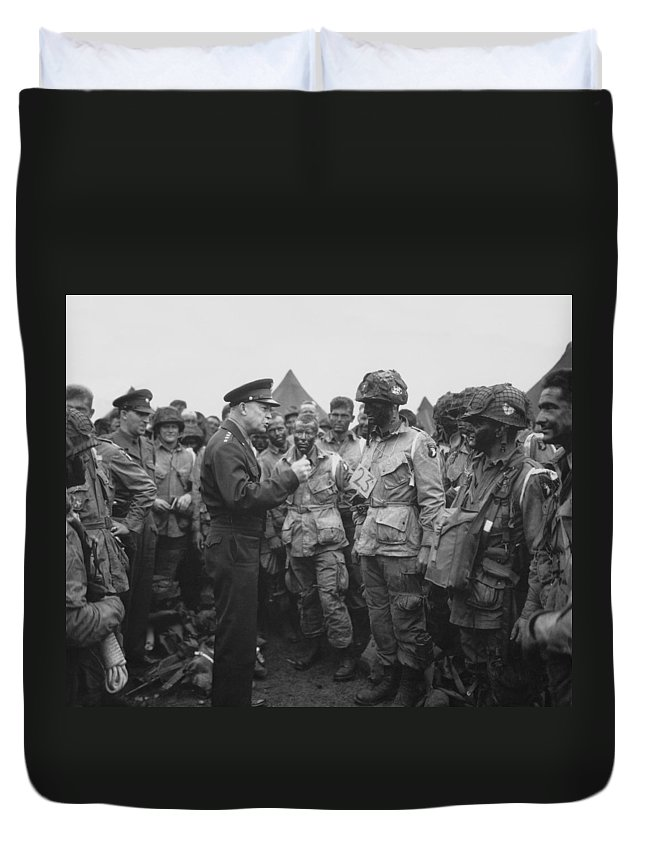 101st Airborne Division Duvet Cover featuring the photograph General Eisenhower on D-Day by War Is Hell Store