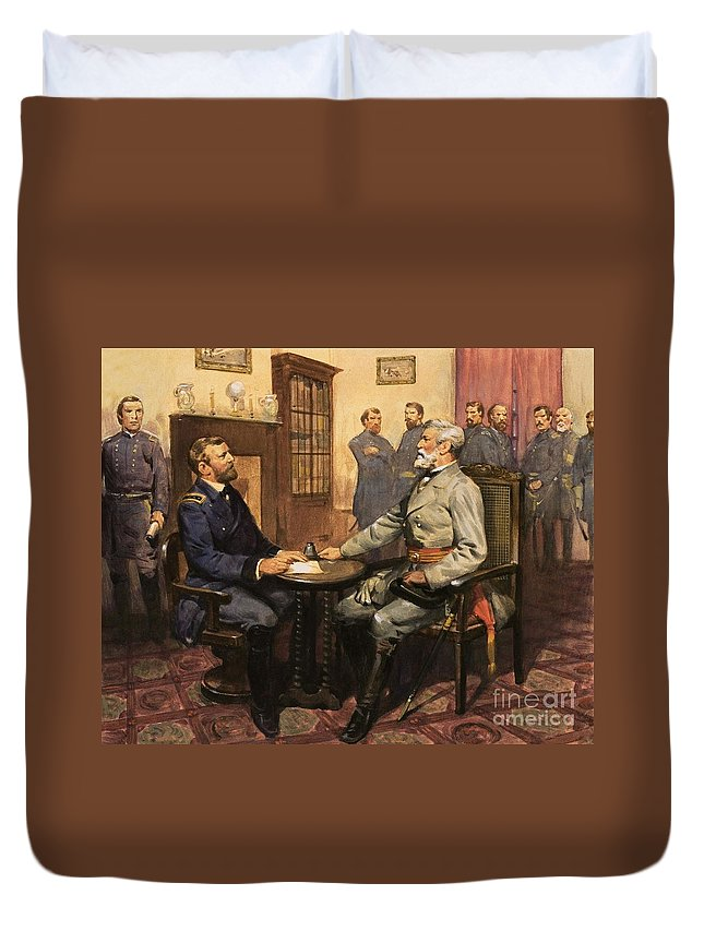 General Grant Meets Robert E. Lee By English School (20th Century) Great Commanders: Hero Of The Southland. General Grant Meets Robert E. Lee. America; Army; Soldiers; American; Flag; American Civil War; Robert E Lee; General Grant; Surrender; Confederate; Union; Us Duvet Cover featuring the painting General Grant Meets Robert E Lee by English School