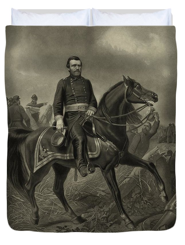 Civil War Duvet Cover featuring the painting General Grant On Horseback by War Is Hell Store