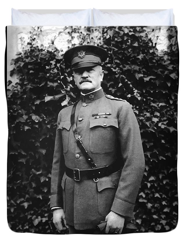 Ww1 Duvet Cover featuring the painting General John J. Pershing by War Is Hell Store