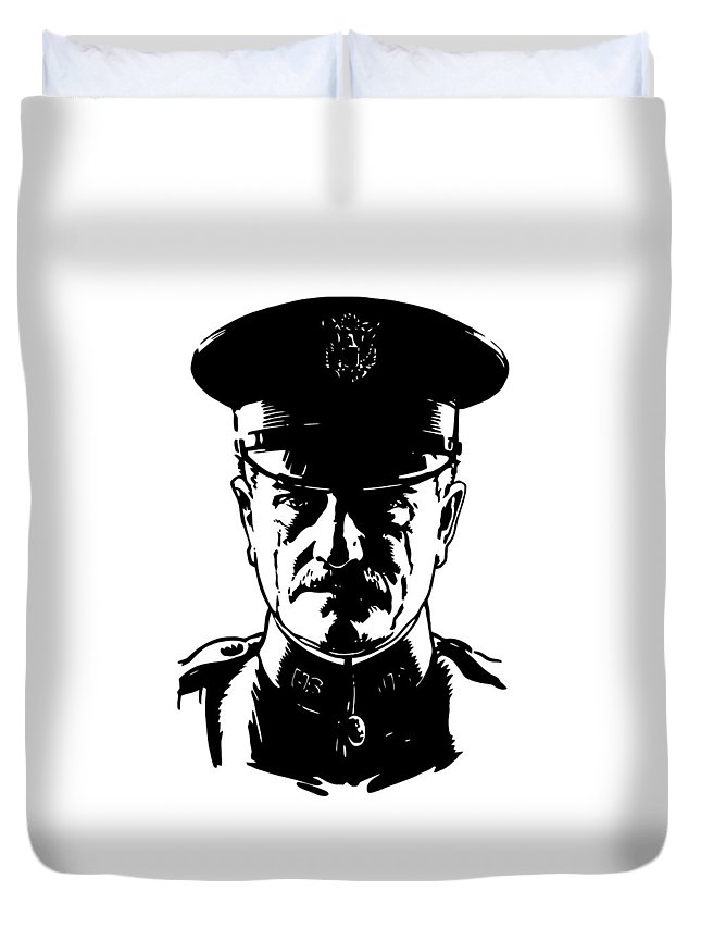 General Pershing Duvet Cover featuring the digital art General John Pershing by War Is Hell Store