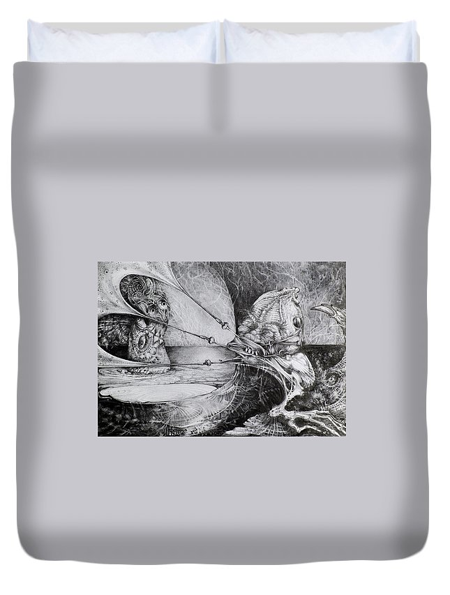 Surrealism Duvet Cover featuring the drawing General Peckerwood In Purgatory by Otto Rapp