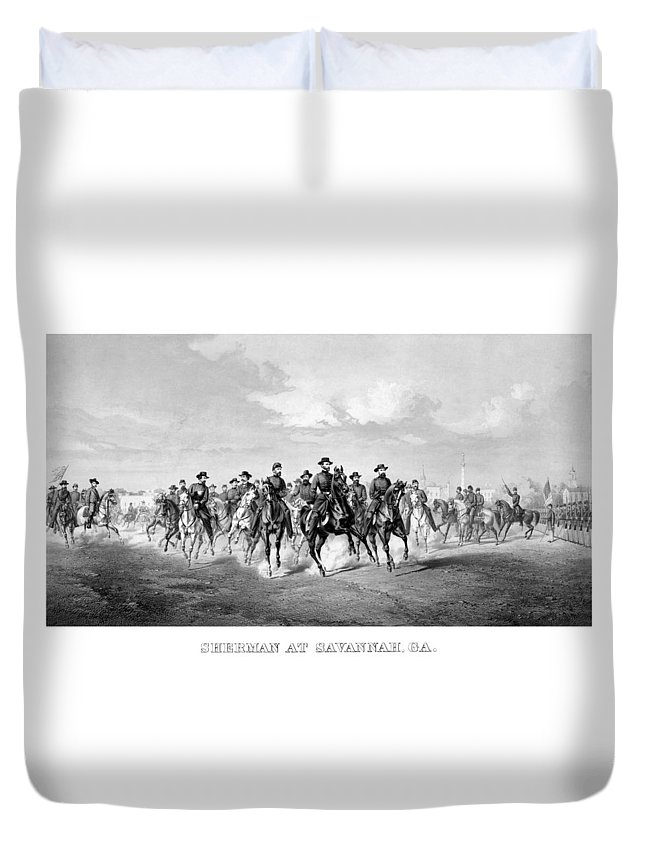 William Sherman Duvet Cover featuring the mixed media General Sherman At Savannah by War Is Hell Store