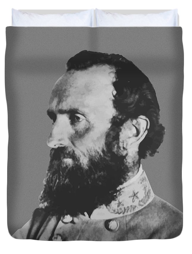 Stonewall Jackson Duvet Cover featuring the painting General Stonewall Jackson Profile by War Is Hell Store