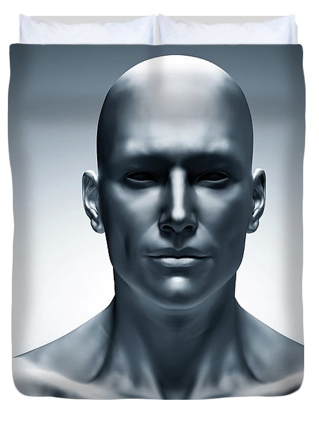 generic human man face front view futuristic duvet cover for sale